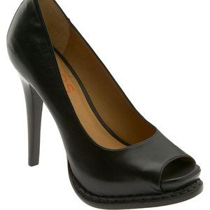 Michael Kors Izzie Black Leather Peep Toe Classic